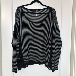 Free People Scoop neck striped lace panel top L